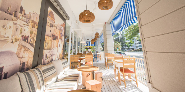 Patio of Bakalaki Greek Taverna on Seng Poh Road in Tiong Bahru, Singapore