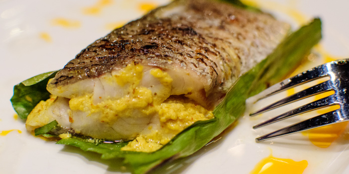 Boneless whole Seabass Hor Mook from The 9th Glass Wine & Bistro in Cherngtalay, Phuket, Thailand.