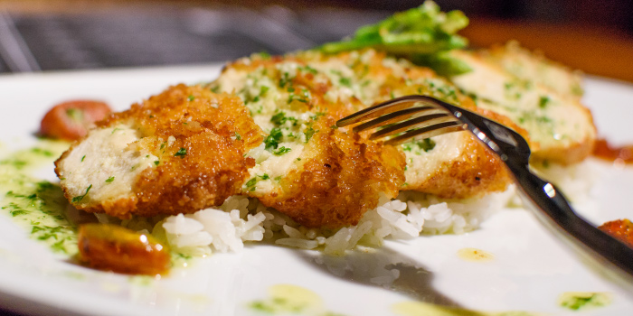 Chicken Kiev from The 9th Glass Wine & Bistro in Cherngtalay, Phuket, Thailand.