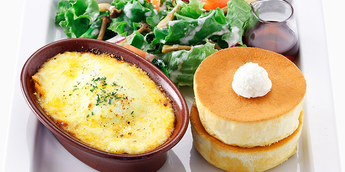Lasagna with Mini Souffle Pancake from Hoshino Coffee (Plaza Singapura) in Dhoby Ghaut, Singapore
