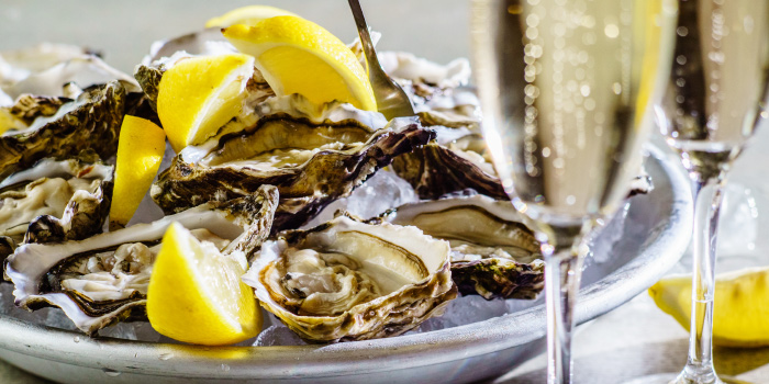Oyster-Champagne from Beach Restaurant in Cherngtalay, Thalang, Phuket, Thailand