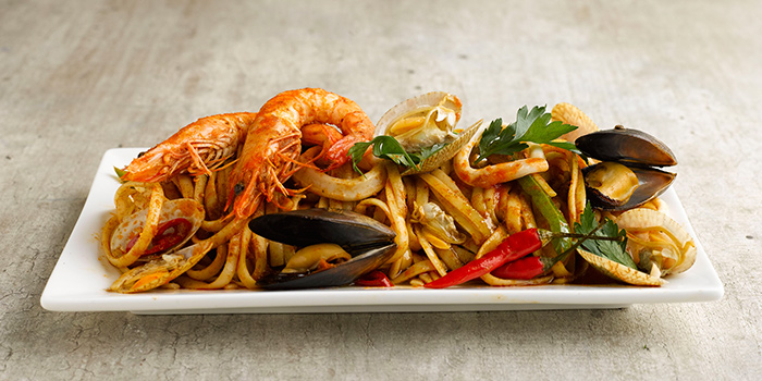 Seafood Tomyam Linguine from Shio & Pepe at Marina Square in Promenade, Singapore