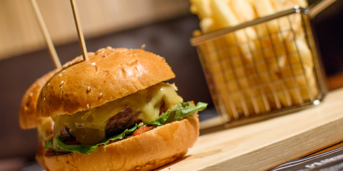 Our Burger from The 9th Glass Wine & Bistro in Cherngtalay, Phuket, Thailand.