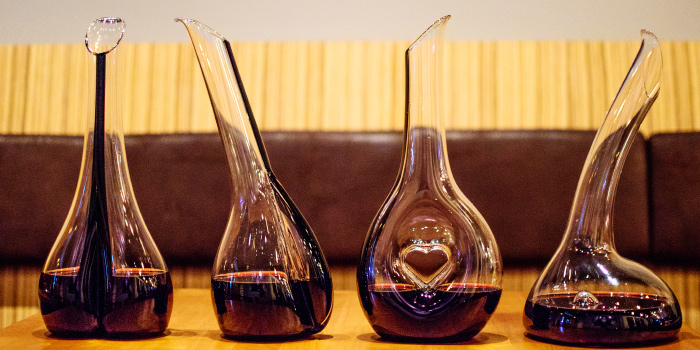 Wine Decanters of The 9th Glass Wine & Bistro in Cherngtalay, Phuket, Thailand.