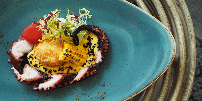 Grilled Octopus with Crispy Egg and Corn from Aura at National Gallery Singapore in City Hall, Singapore