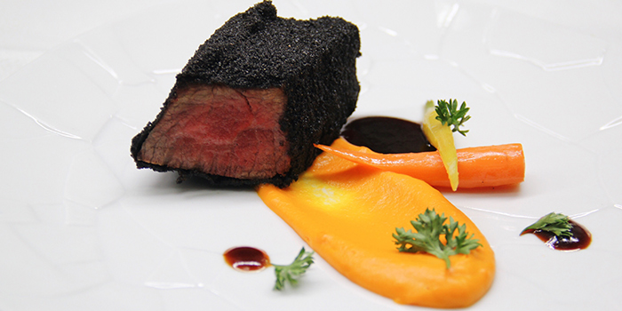 Iberian Presa Charcoal-Fried, Carrot & Toasted Coffee from La Ventana in Dempsey, Singapore