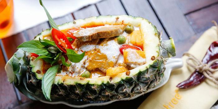Red Curry With BBQ Duck In Pineapple Boat from Mango Tree Surawong in Surawong Road, Bangkok