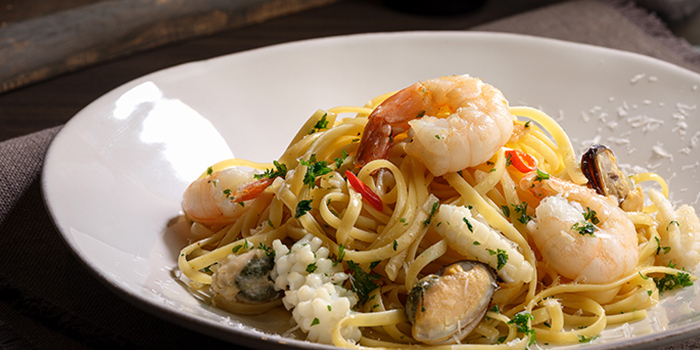 Seafood Aglio Olio from Se7enth at OUE Downtown 1 in Tanjong Pagar, Singapore