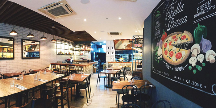 Interior of Bella Pizza in Robertson Quay, Singapore