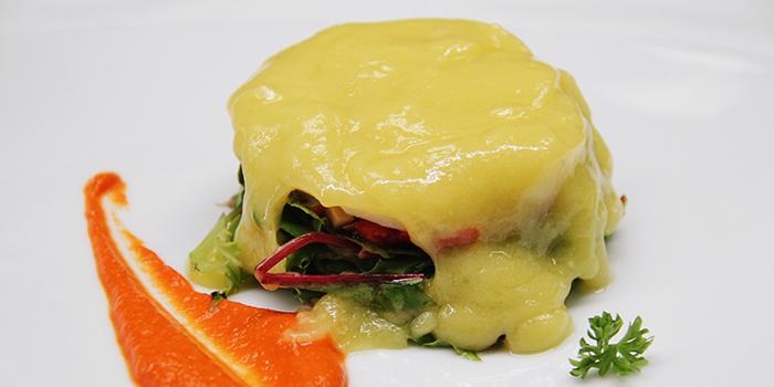Cod Salad, Mushrooms, Pepper Cream & Potato Crust from La Ventana in Dempsey, Singapore