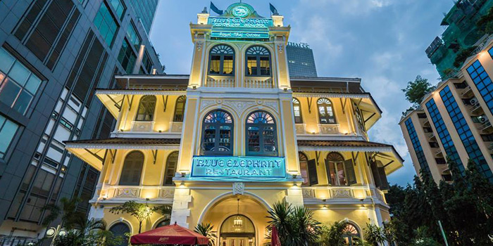 Exterior of Blue Elephant Restaurant in South Sathorn, Bangkok