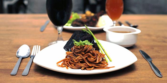 Beer Braised Pork Belly Linguine from Five Marbles Craft Beer Restaurant at Rendevouz Hotel in Dhoby Ghaut, Singapore