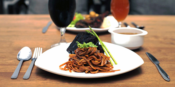 Beer Braised Pork Belly Linguine from Five Marbles Craft Beer Restaurant at Rendevouz Hotel in Dhoby Ghaut, Singapore