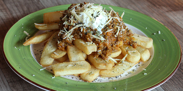 Fries Bolognese from Bodacious at Biopolis in Bouna Vista, Singapore
