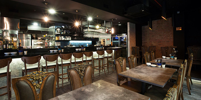 Interior of Osteria Five Nines at Cuppage Plaza in Orchard, Singapore