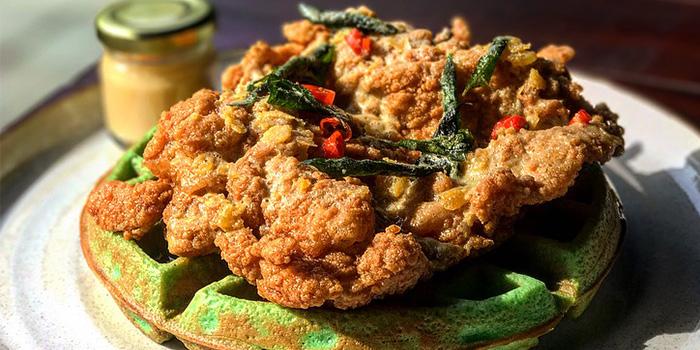 Salted Egg Yolk Chicken & Pandan Waffles (1-31 Aug) from The Beast in Bugis, Singapore