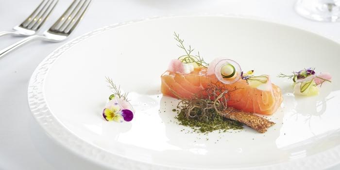 Salmon on the table at CasCades Ubud