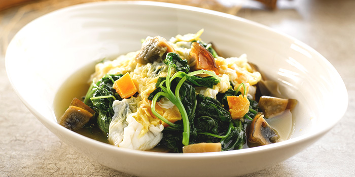 Seasonal Vegetables with Assorted Egg in Superior Broth from Crystal Jade Kitchen (Causeway Point) in Woodlands, Singapore