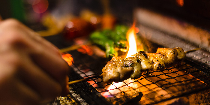 Yakitori On Fire at Chikin Bar on Bukit Pasoh in Outram, Singapore.