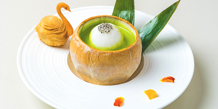Baked Sweet Potato Filo Pastry Chilled Cream of Avocado from Golden Peony in Conrad Centennial Hotel in Promenade, Singapore