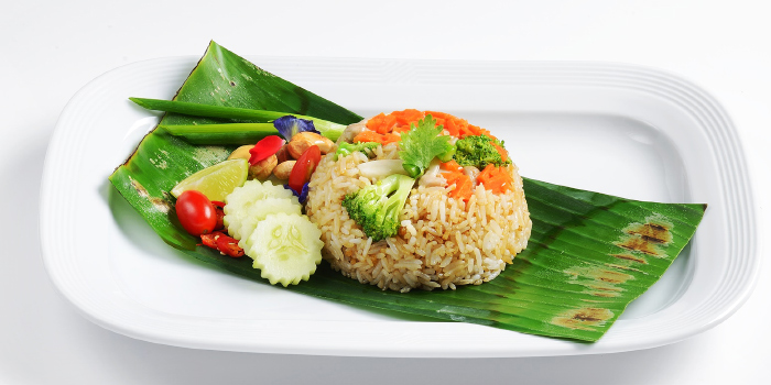 Khao Pad Kra Tiem Pak Ruam Fried rice with garlic and mixed vegetables from CAFE NINE Jim Thompson Phuket in Patong, Phuket, Thailand.
