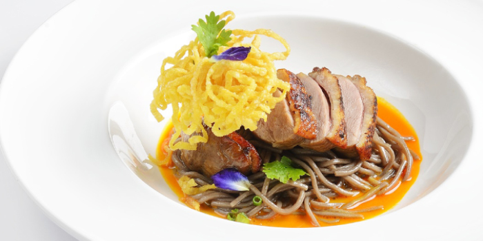 Khao Soi Soba Ped Yang Curried soba noodles with grilled duck from CAFE NINE Jim Thompson Phuket in Patong, Phuket, Thailand.