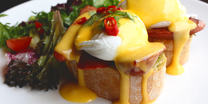 Spicy Huevos Benedict from Nassim Hill Bakery Bistro Bar at Tanglin Post Office in Tanglin, Singapore