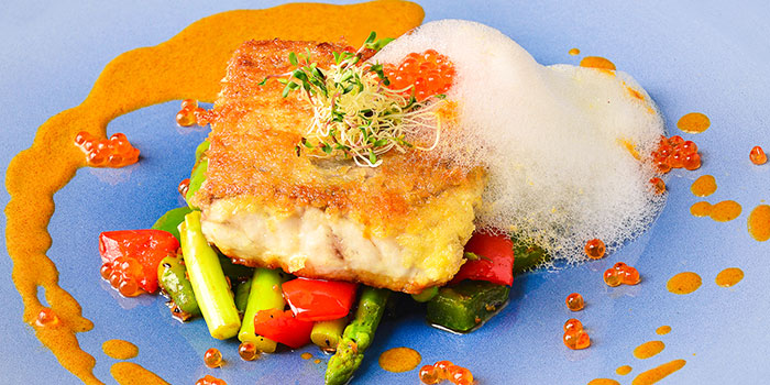 Grilled Fish on the Bed of Tawa Asparagus from Punjab Grill at Marina Bay Sands in Marina Bay, Singapore