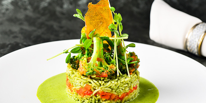 Veg Rice Pilaf with Sautéed Broccoli Korma Sauce from Punjab Grill at Marina Bay Sands in Marina Bay, Singapore