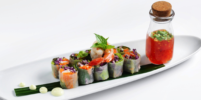 Poh Pia Sod Goong Soft rice paper spring roll with prawns, sweet basil, mint leaves and carrots served with herbs mayonnaise from CAFE NINE Jim Thompson Phuket in Patong, Phuket, Thailand.