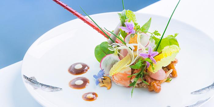 Red shrimp and samphire and gold caviar, Rech by Alain Ducasse, Tsim Sha Tsui, Hong Kong