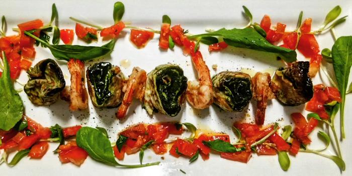Sfogliatine with gratinates herbs brased prawns from La Dolce Vita Restaurant in Patong, Phuket, Thailand.