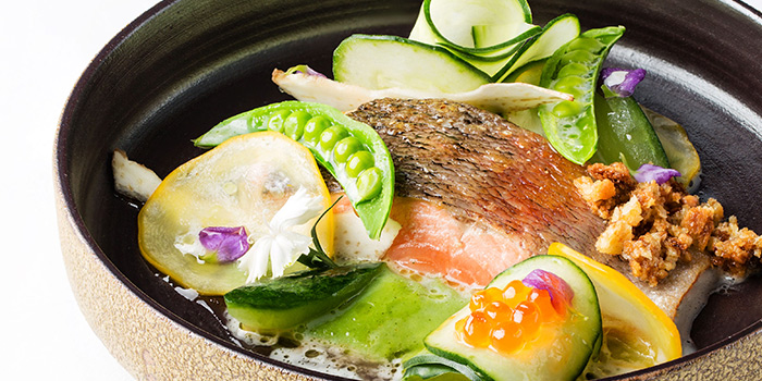 Japanese Sea Trout with Courgettes and Peas, Mandarin Grill + Bar, Central, Hong Kong