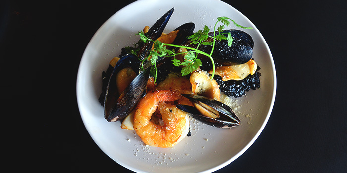 Squid Ink Paella from Oyster Co. at Central Mall in Clarke Quay, Singapore