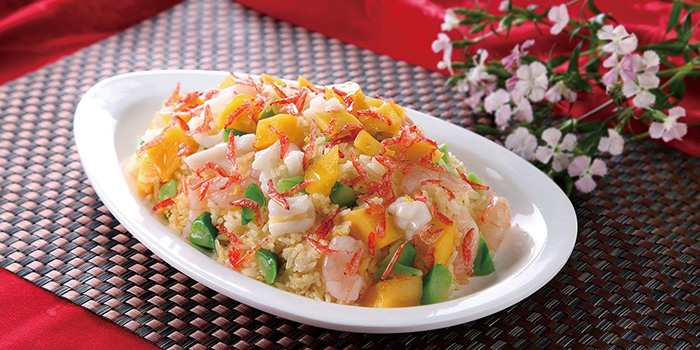 Fried rice with Mango and Sakura Shrimp, Greenland Spicy Crab, Tsim Sha Tsui, Hong Kong