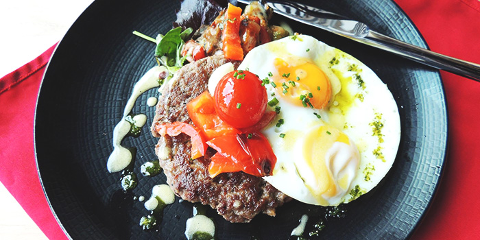 Burger Steak and Egg from Big Fat Mama in Sentosa, Singapore