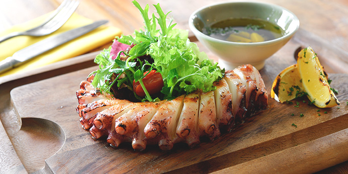 Grilled Atlantic Octopus Leg with Herbs from Blue Lotus Mediterranean Kitchen & Bar in Queentown, Singapore