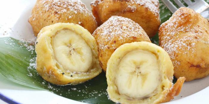 Banana fritter recipe Goreng Pisang shutterstock from The Deck Restaurant Kamala in Kamala, Phuket, Thailand.