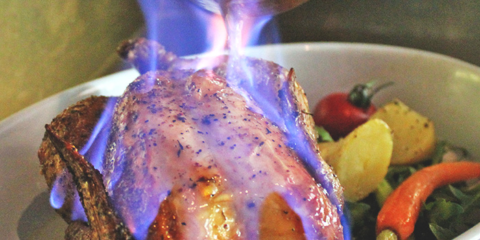 Flambéed Spring Chicken from Grissini at Grand Copthorne Waterfront Hotel in Robertson Quay, Singapore