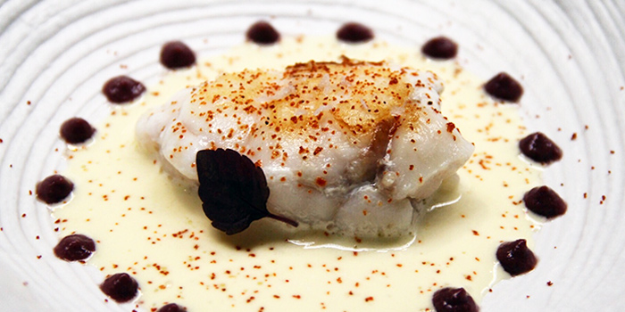 Monkfish, Saffron Foam, Kalamata Olives Emulsion from La Ventana in Dempsey, Singapore