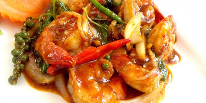 Pad Namprik Pao Goong from The Deck Restaurant Kamala in Kamala, Phuket, Thailand.