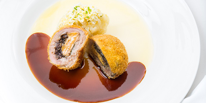 Milk-Fed Veal Stuffed with Foie Gras, Duxelles, Sage with Cauliflower Mimosa and Madeira Jus from Tablescape Restaurant & Bar at Grand Park City Hall in City Hall, Singapore