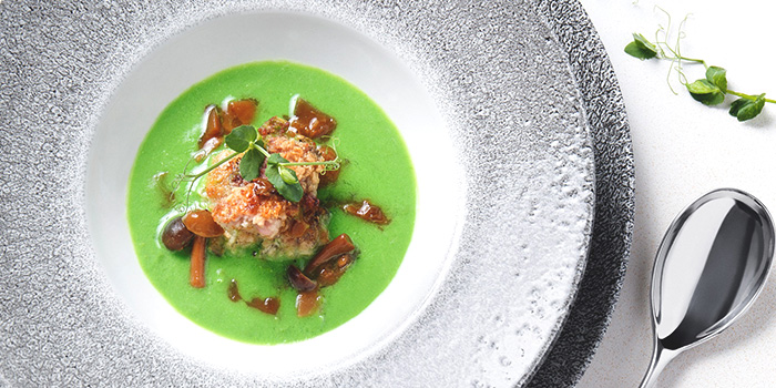 Veal Sweet Bread in 2-minute Pea Soup from Tablescape Restaurant & Bar at Grand Park City Hall in City Hall, Singapore
