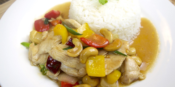 chicken cashew nut recipe from The Deck Restaurant Kamala in Kamala, Phuket, Thailand.