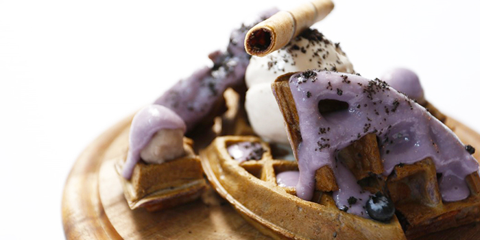 Taro Waffle from Froth in Raffles Place, Singapore