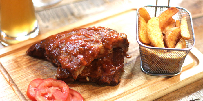 BBQ Pork Ribs & Wedges from Wishbeer Home Bar at 1491 Soi Sukhumvit 67, Phra Khanong Nuea, Bangkok