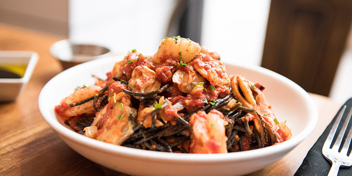 Cuttlefish & Okra Squid Ink Spaghetti, Moreish & Malt, Hung Hom, Hong Kong