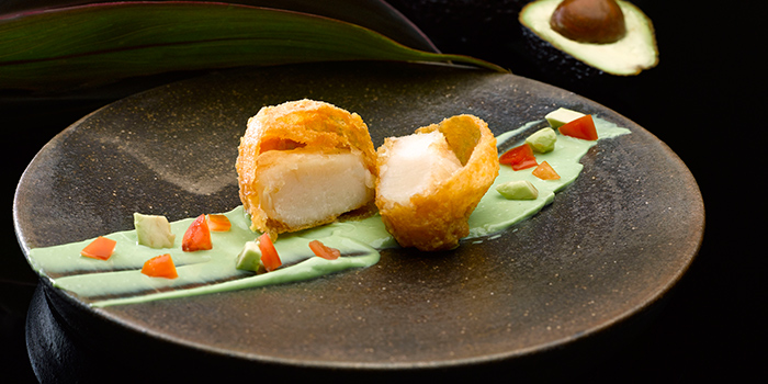Deep Fried King Scallop with Salted Egg York from Crystal Jade Dining IN Restaurant in VivoCity in Harbourfront, Singapore