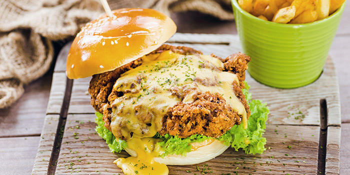 Cheesy Chicken Burger from GRUB (Balestier) at HomeTeamNS-JOM in Balestier, Singapore