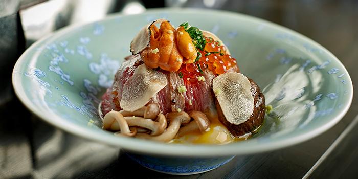 NAMI Saga Wagyu Beef Sirloin A4, Sea Urchin, Rice & Seasonal Truffle from NAMI at Shangri-La Hotel in Tanglin, Singapore